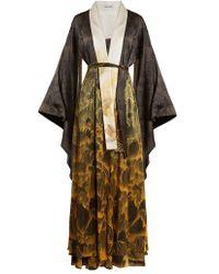 Adriana Iglesias - Anna Reversible Floral-print Stretch-silk Robe - Lyst 65a428af6