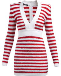 Balmain - Intarsia Stripe V Neck Knitted Mini Dress - Lyst
