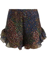 Chloé - Abstract Print Ruffle Trimmed Shorts - Lyst