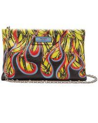 Prada - Banana And Flames-print Leather Clutch - Lyst