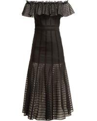Alexander McQueen - Off The Shoulder Stripe Knitted Midi Dress - Lyst