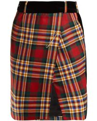 Alexandre Vauthier - Tartan Wool Wrap Mini Skirt - Lyst