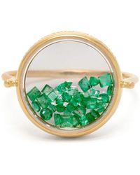 Aurelie Bidermann - Chivor 18kt Gold And Emerald Ring - Lyst