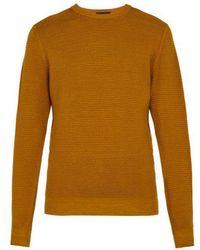 Altea - Crew Neck Wafer Knit Wool Jumper - Lyst