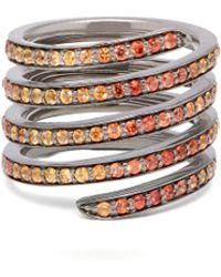 Lynn Ban - Ombré Sapphire & Rhodium Coil Ring - Lyst