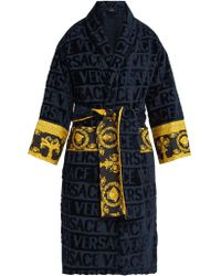 Versace - Print Panelled Logo Jacquard Cotton Bathrobe - Lyst