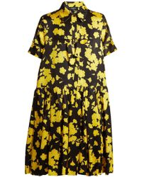 Rochas | Floral Printed Silk Satin Dress | Lyst