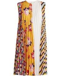 MSGM - Printed Pleated Crepe Dress - Lyst