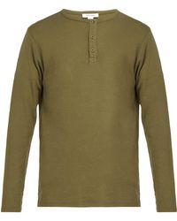 FRAME - Long Sleeved Cotton Henley T Shirt - Lyst