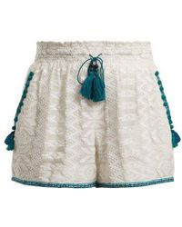 Talitha - Zigzag Embroidered Cotton And Silk-blend Shorts - Lyst