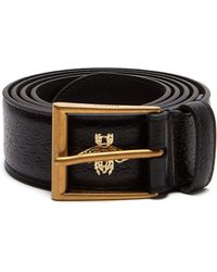 76f409525b0e6 Gucci - Star And Bee Hot Stamped Leather Belt - Lyst