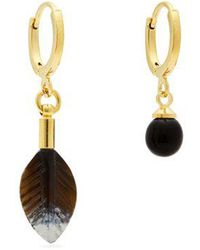 Isabel Marant - Scarabe Feather And Ball Mismatched Earrings - Lyst