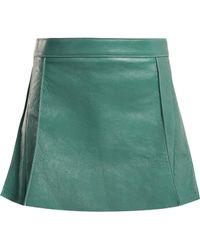 Chloé - Pleated Leather Mini Skirt - Lyst