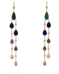 Jacquie Aiche - Emerald, Tourmaline & Diamond Drop Earrings - Lyst