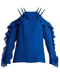 Elie Saab - Ruffled-trimmed Silk Crepe De Chine Top - Lyst