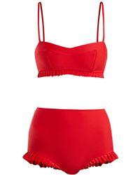 Adriana Degreas - X Charlotte Olympia Ruffle Trim Bikini - Lyst