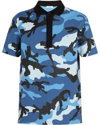 Valentino - Camouflage Print Cotton Polo Shirt - Lyst