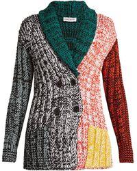 Sonia Rykiel - Contrast-panel Chunky-knit Cardigan - Lyst