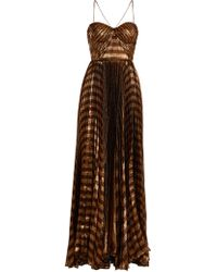 Maria Lucia Hohan - Gaia Striped Pleated Lamé Gown - Lyst