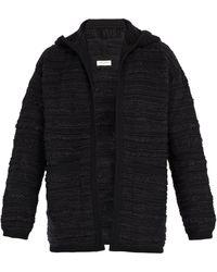 Saint Laurent - Bouclé Wool Blend Hooded Cardigan - Lyst