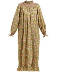 Loretta Caponi - Smocked Floral Print Cotton Maxi Dress - Lyst