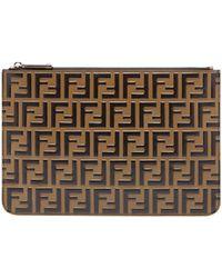 Fendi - Pochette en cuir à logo FF - Lyst