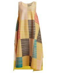 Pleats Please Issey Miyake - - Pleated Square Print Dress - Womens - Yellow Multi - Lyst