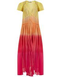 Attico   Deep V-neck Silk-georgette Dress   Lyst