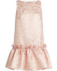 OSMAN | Semiha Ruffled-hem Leaf-brocade Dress | Lyst