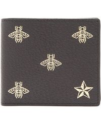 Gucci | Bee-print Bi-fold Grained-leather Wallet | Lyst