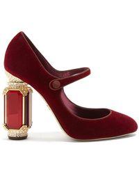 Dolce & Gabbana - Crystal Embellished Mary Jane Velvet Pumps - Lyst
