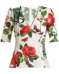 Dolce & Gabbana - Charmeuse Floral-print Silk-blend Top - Lyst