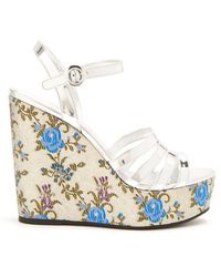 Prada - Floral-jacquard Leather Wedge Sandals - Lyst