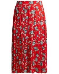 72dee9df46f2 Vetements - Pleated Floral Print Crepe Midi Skirt - Lyst