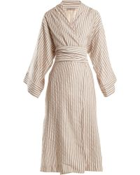Three Graces London - Isabella Striped Cotton Blend Robe - Lyst