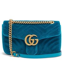 d56f890afff Gucci - Gg Marmont Small Quilted Velvet Shoulder Bag - Lyst