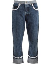 Miu Miu | Broderie-anglaise Trimmed Boyfriend Jeans | Lyst