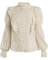 Rebecca Taylor - Star-print Silk-blend Blouse - Lyst