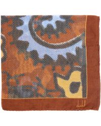 Dunhill - Wing Nut Print Silk Pocket Square - Lyst