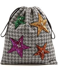 Attico - Sequin-embellished Hound's-tooth Drawstring Pouch - Lyst