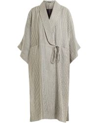 Three Graces London | Constance Striped Cotton-blend Robe | Lyst