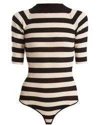 Khaite - Constance Striped Ribbed-knit Wool-blend Bodysuit - Lyst