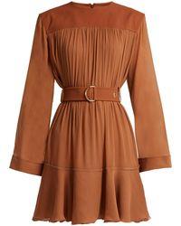 Chloé - Mousseline Gathered Mini Dress - Lyst