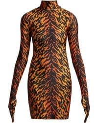 Vetements - Tiger Print Glove Sleeved Jersey Dress - Lyst