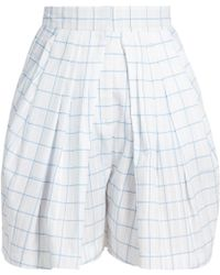 Vika Gazinskaya - Checked Pleated-front Cotton Shorts - Lyst