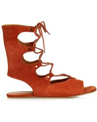 Chloé - Lace-up Suede Gladiator Sandals - Lyst