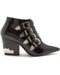Toga - Buckle Leather Ankle Boots - Lyst
