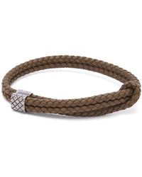 Bottega Veneta - Double Intrecciato Woven Leather Bracelet - Lyst