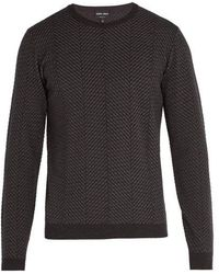Giorgio Armani - Herringbone Knit Wool Blend Sweater - Lyst
