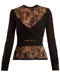 Elie Saab - Lace-insert Silk-blend Wrap Top - Lyst